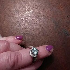 1 carat blue Moissanite ring